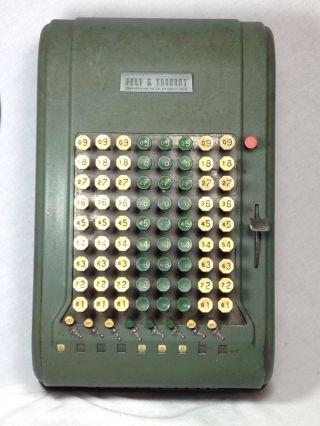 Felt & Tarrant Comptometer - Vintage Adding Machine - Model 6537 Green Steel photo