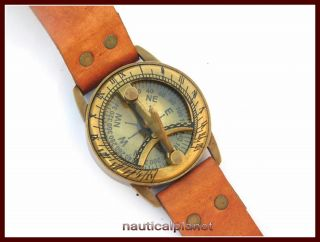Antique Steampunk Wrist Brass Compass & Sundial - Watch Type Sundial photo