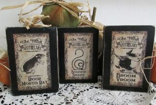 3 Halloween Vintage Look Apothecary Wood Block Shelf Sitters Rat Snake Witch photo