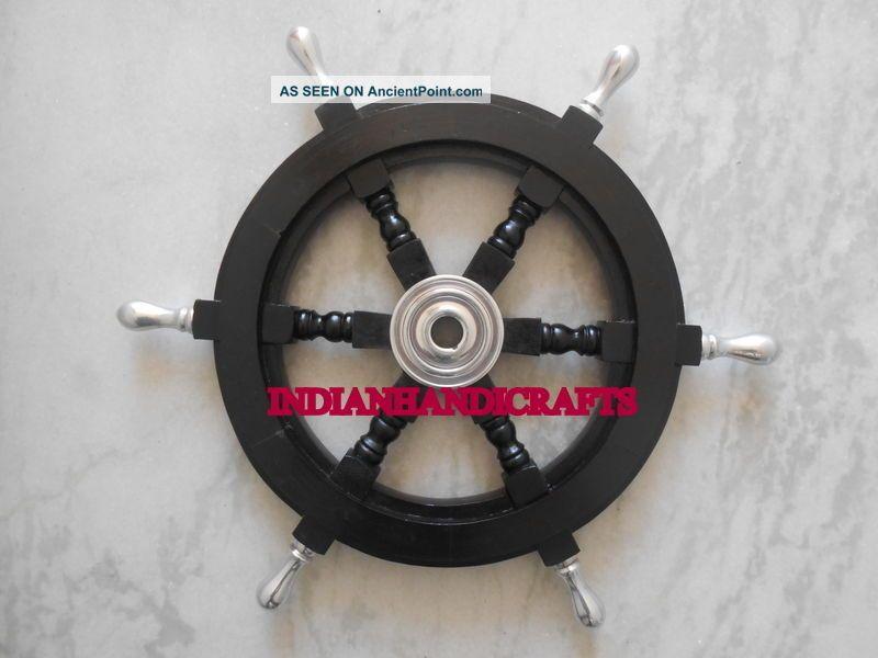 Rosewood Ship Wheel Black Nautical Marine Wall Decor Vintage Copy 18 Inch Wheels photo
