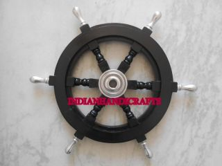 Rosewood Ship Wheel Black Nautical Marine Wall Decor Vintage Copy 18 Inch photo