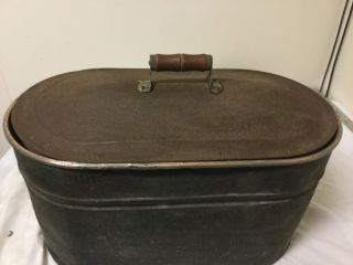 Copper Wash Tub,  Boiler Primitive With Lid photo