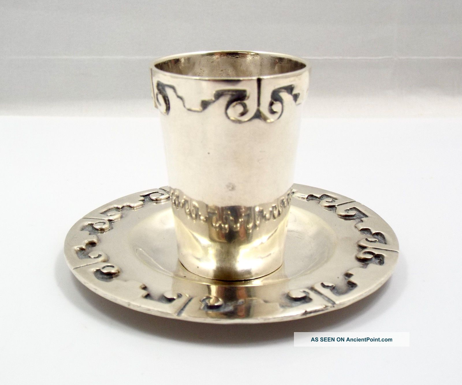 Vintage Taxco Mexico Sterling Silver Bernice Goodspeed Tequila Shot Glass W Tray Mexico photo