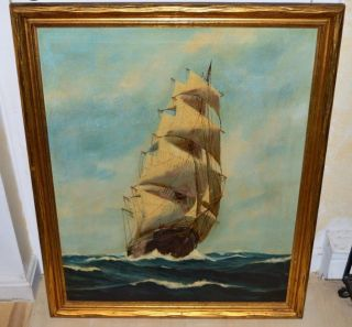 Authentic Antique Signed T.  Bailey Nautical Maritime Clipper Ship Oil Painting photo