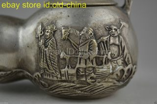 Collectible Handwork Old Tibet Silver Carve Journey To The West Story Teapot photo
