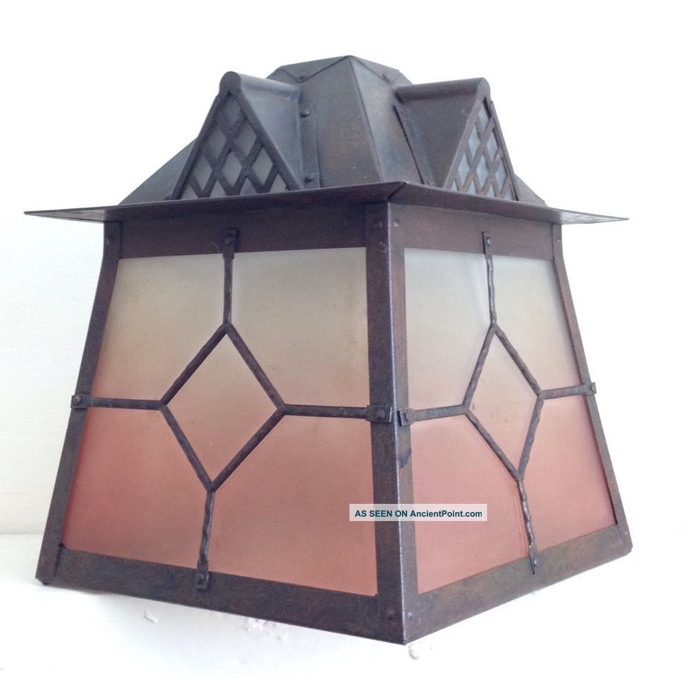 Arts And Crafts Style Vintage Lantern Hanging Ceiling Porch Lamp Light 20th Century photo