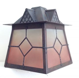 Arts And Crafts Style Vintage Lantern Hanging Ceiling Porch Lamp Light photo