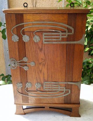 European Antique Miniature Arts & Crafts 1 Door Oak Armoire Pewter Ornaments Key photo