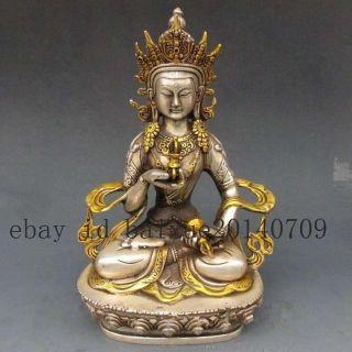 Vintage Tibet Silver Copper Gilt Tibetan Buddhism Statue - - White Tara Buddha photo