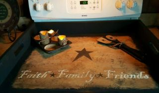 Primitive Stove Cover Noodle Board Hand Crafted Custom Wording Colors,  Etc photo