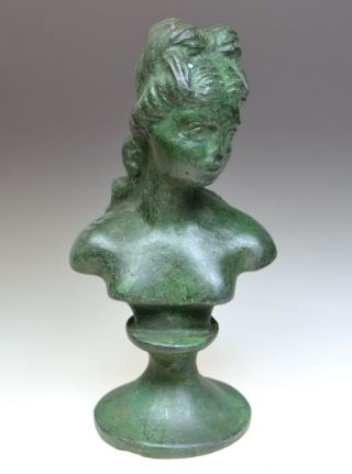 Greco - Roman Bronze Bust Of The Goddess Diana photo