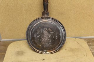 Rare Pennsylvania 18th C Copper Bedwarmer With An Engraved Peacock Decoration photo