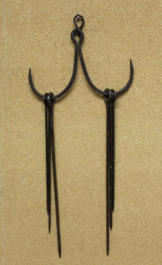 Fine Early 19th C England Wrought Iron Skewer Holder Great Patina 6 Skewers photo