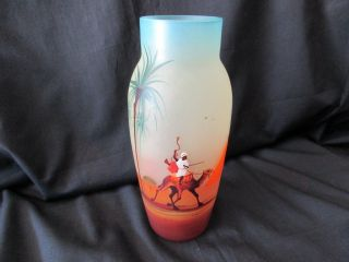 Art Deco Czchoslovakian Cameo? Glass Vase Hand Painted Glass Vase,  C - 1920,  S photo
