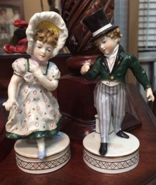 Signed Hochst Porcelain Colonial Figurines Gentleman & Lady photo