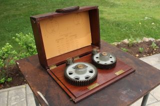 Antique Vintage Boston Gear Salesman Sample Speed Reducer Motor In Wood Box photo