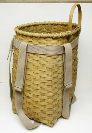 "18"" Tall Trappers Basket With Canvas Straps.  Older? photo"