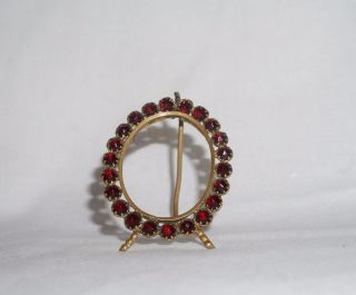 Antique Victorian Faceted Garnet Glass Photo Frame Miniature Oval Brass photo