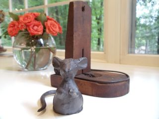 Antique Rat Trap And Cast Iron Mouse Bookend/door Stop photo