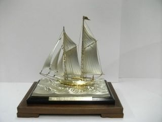 The Sailboat Of Silver Of The Most Wonderful Japan.  2masts.  Japanese Antique photo
