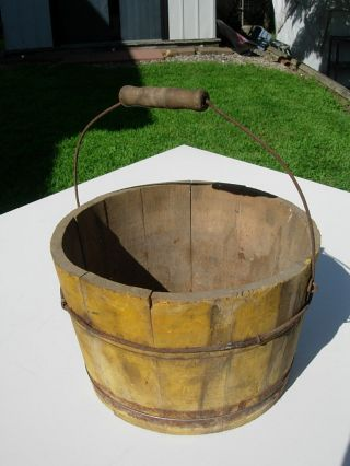 Antique Wire Handle Sugar Or Water Bucket Pail With Mustard Yellow Paint Aafa photo