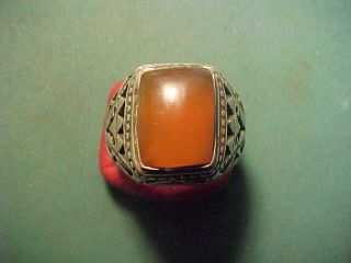 Near Eastern Hand Crafted Solid Silver Ring With Carnelian Stone 1700 - 1900 photo