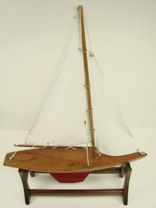 Vintage Antique Rich Toy Clinton Iowa Pond Boat Sailboat Paint W/ Stand photo