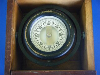Vtg Ship ' S Compass In Wood Box Painted Brass Nautical Maritime Gimbal photo