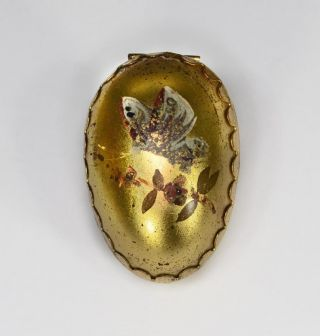 Sewing Thimble Holder Case Brass Egg Painted Butterfly Antique photo