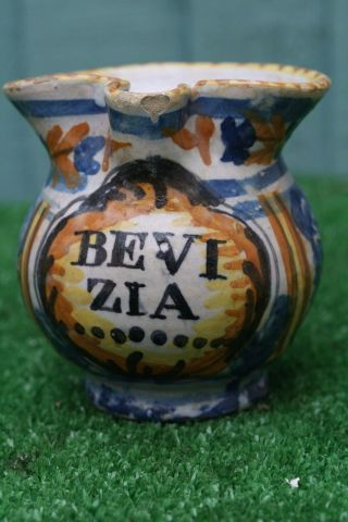 18thc Italian Apothecary Jug With Hand Painted Decor: Bevi Zia C1790s photo