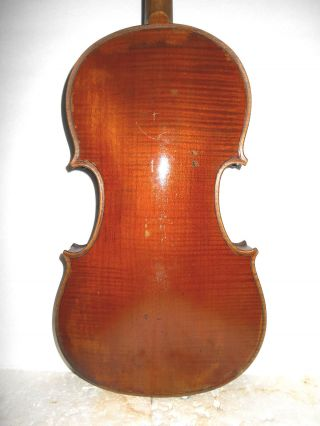 Vintage Old Antique 1pc Curly Maple Back Full Size Violin - photo