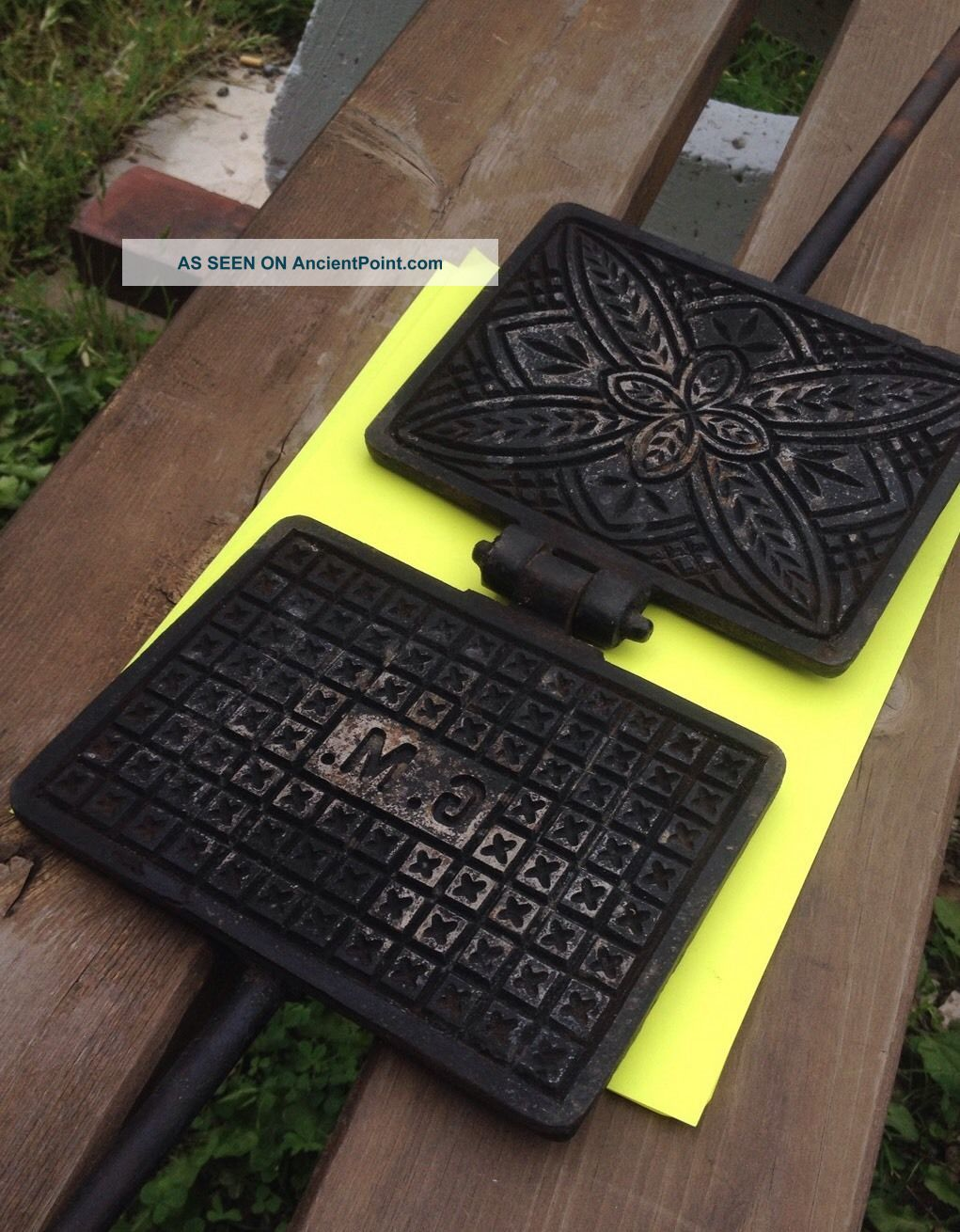Vtg Antique Cast Iron Wedding Gift G M Advert Pizzelle Waffle Wafer Cookie Maker Hearth Ware photo