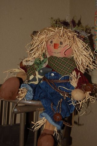 Olde Primitive Fall Harvest Scarecrow Doll With Olde Crow photo