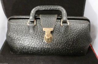 Antique Eli Lilly Pebbled Black Leather Doctor Doctors Bag Medical Satchel photo
