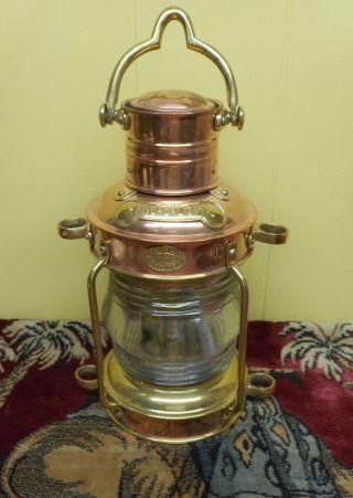 Brass & Copper Anchor Oil Lamp Nautical Maritime Ship Lantern London Bristol photo