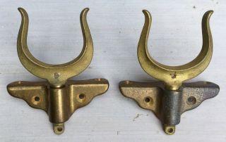 Antique Wilcox Crittenden Wc Pair Solid Bronze Oar Locks & Gunwale Brackets 1920 photo