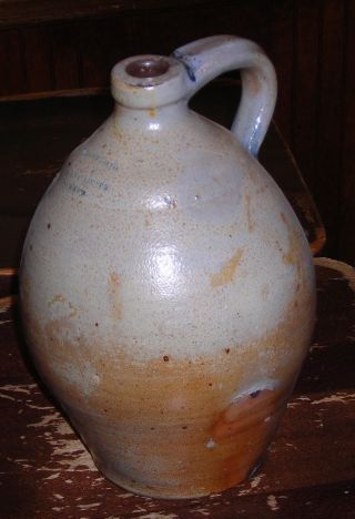 Primitive Ovoid Stoneware 1 Gallon Jug Marked Armstrong & Wentworth Norwich 1820 photo