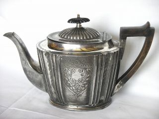 Antique C1854,  Deykin & Sons Silver Plated Teapot Ebony Finial Rosewood Handle photo