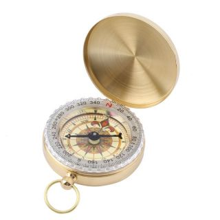 Brass Pocket Watch Style Outdoor Camping Hiking Compass Navigation Keychain Ab photo