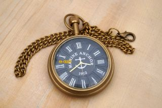 Vintage Antique Brass Clock Victorian Pocket Watch Collectible & Nautical Clock photo