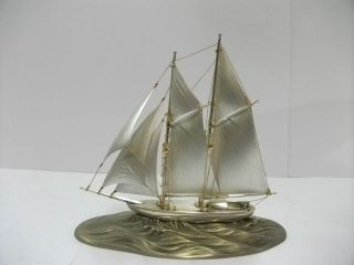 The Sailboat Of Sterling Silver.  2masts.  123g/ 4.  33oz.  Japanese Antique photo