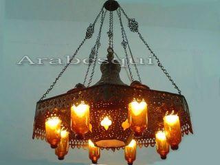Br125 Old Arabian / Islamic Style Pendant Chandelier Amber Glass Shades photo