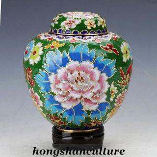 Boutique Decoration Chinese Cloisonne Copper Hand - Painted Flower Pot photo