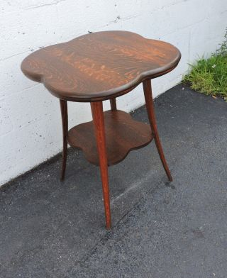 Victorian Early 1900s Tiger Oak Side Table 7816 photo