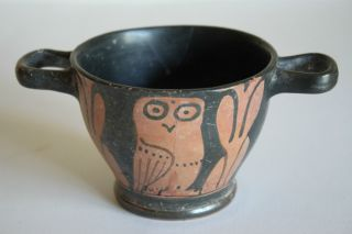 Good Ancient Greek Red Figure Owl Pottery Skyphos 4th Century Bc Wine Cup photo