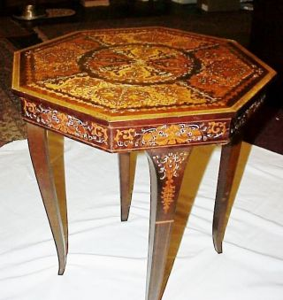 Antique Inlaid Marquetry Wood Musical Table W Storage Plays Torna A Sorriento photo