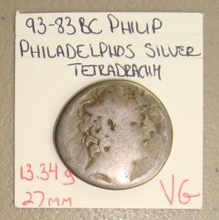 93 - 83 Bc Seleucid Kingdom Philip I Ancient Greek Silver Tetradrachm Vg photo