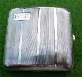 Decorated Solid Silver Cigarette Case - Birmingham 1926 - 3.  84oz photo