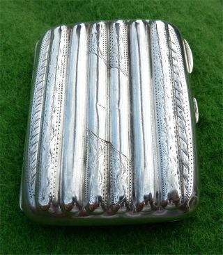 Great Looking Ridged Solid Silver Cigarette Case - Birmingham 1913 - 2.  58oz photo