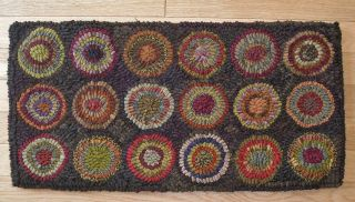 Hand Made Primitive Hooked Rug Autumn Penny Runner Folk Art Eaam photo